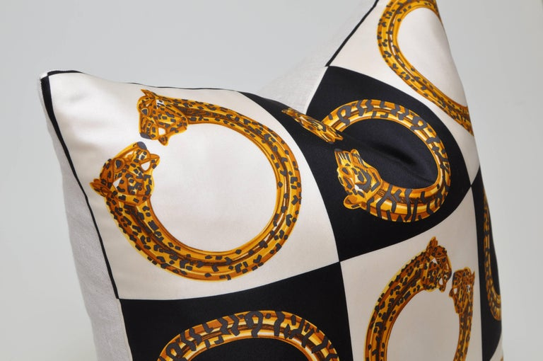 Hand-Crafted Vintage Cartier Gold Panther Bracelet Jewelry Silk Scarf Cushion Pillow For Sale