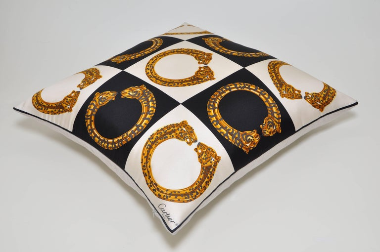 French Vintage Cartier Gold Panther Bracelet Jewelry Silk Scarf Cushion Pillow For Sale