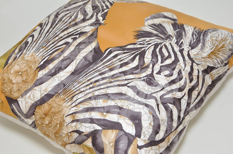 20th Century Vintage Bronze Gold Zebra Salvatore Ferragamo Silk Scarf and Irish Linen Cushion For Sale