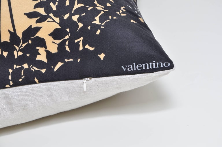 A large custom-made one-of-a-kind cushion (pillow) created from a stunning rare vintage Valentino silk fashion scarf in an extremely elegant and unusual design. It depicts a picturesque evening scene illustrating four storks gathering in amongst