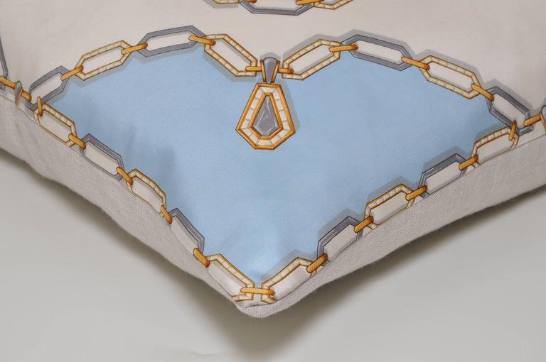 20th Century Vintage Cartier Jewelry Diamond Silk Scarf with Irish Linen Cushion Pillow For Sale
