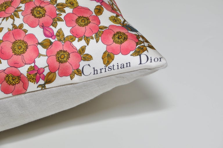 Custom-made one-of-a-kind luxury cushion created from a rare vintage silk Christian Dior fashion scarf in an exquisite multicolored design. This is without a doubt one of the most beautiful scarves we have ever come across. Illustrating an idillic