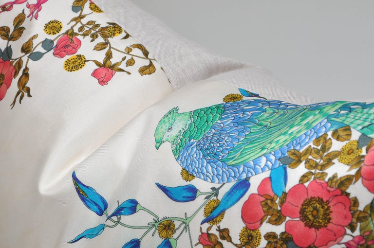 Hand-Crafted Rare Vintage Christian Dior Silk Scarf with Irish Linen Cushion Pillow For Sale