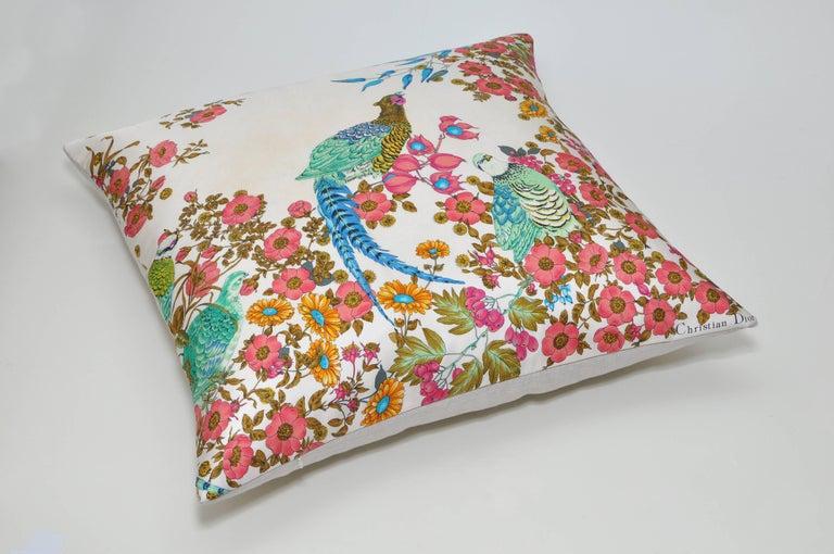 Rare Vintage Christian Dior Silk Scarf with Irish Linen Cushion Pillow For Sale 2