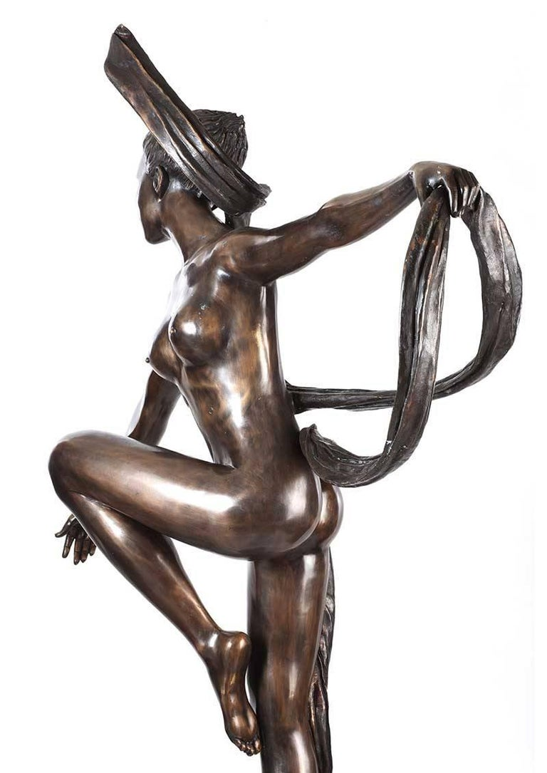 20th Century Large 'Essence of Elegance' Art Deco Bronze Garden Sculpture For Sale