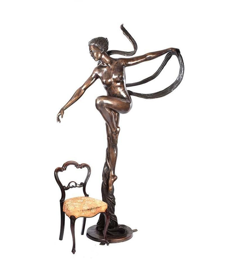 Large 'Essence of Elegance' Art Deco Female Bronze Garden Sculpture.