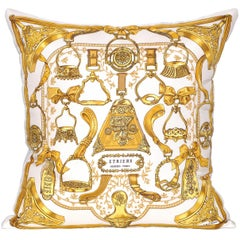 Vintage Gold Hermès Equestrian Scarf with Irish Linen Cushion Pillow