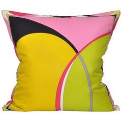 Vintage Pucci Yellow Geometric Silk Fabric and Irish Linen Cushion Pillow