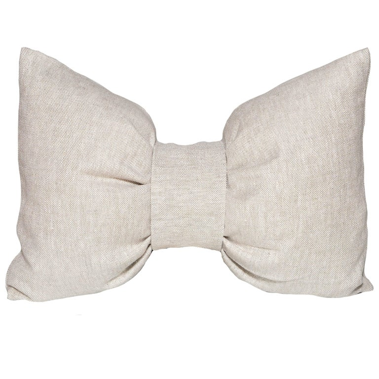 Large Designer Bow Pillow in Vintage Irish Linen Natural Oatmeal Cushion