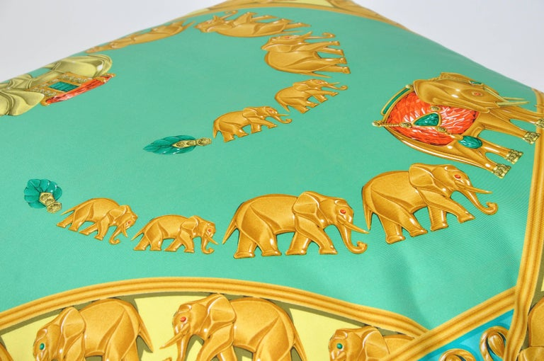 French Large Vintage Cartier Jewelry Print Green Gold Silk Fabric & Irish Linen Pillow For Sale