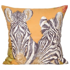 Vintage Bronze Gold Zebra Salvatore Ferragamo Silk Fabric & Irish Linen Cushion