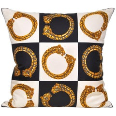 Vintage Cartier Gold Panther Bracelet Jewelry Silk Fabric Cushion Pillow