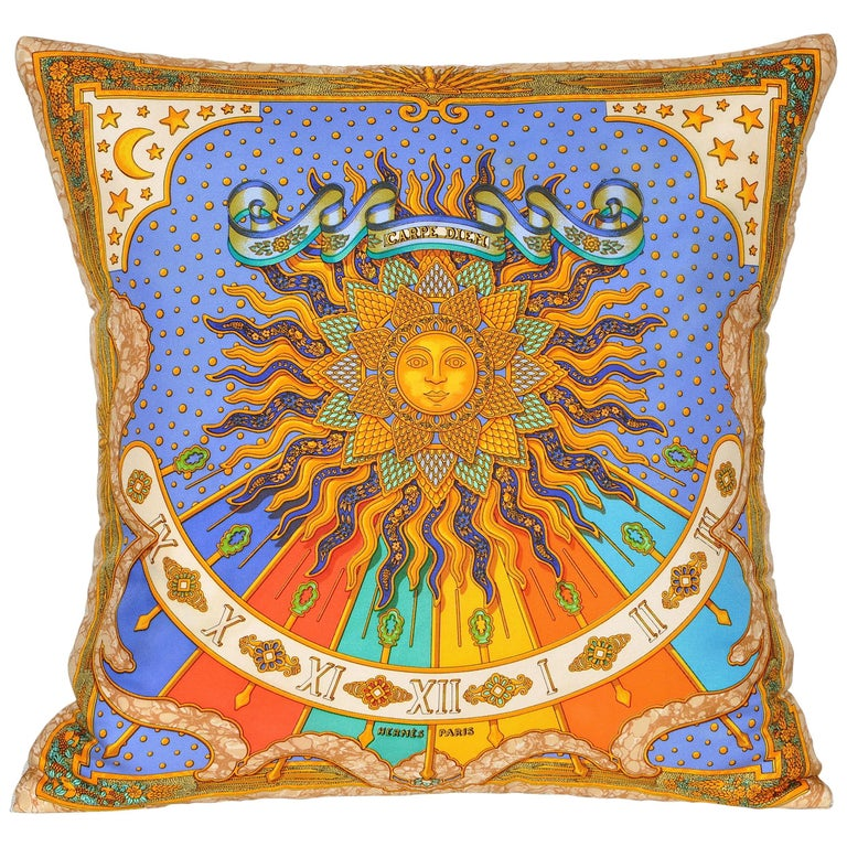 Vintage Hermes Bright Blue and Gold Silk Fabric and Irish Linen Cushion Pillow For Sale