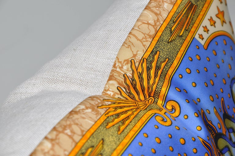 French Vintage Hermes Bright Blue and Gold Silk Fabric and Irish Linen Cushion Pillow For Sale
