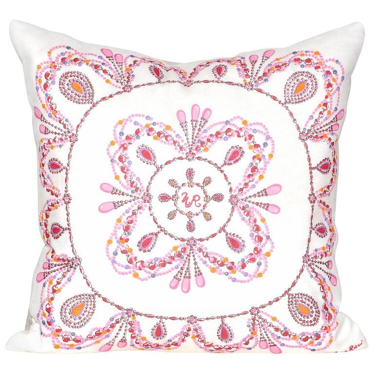 Vintage Nina Ricci Pink Fabric with Irish Linen Cushion Pillow