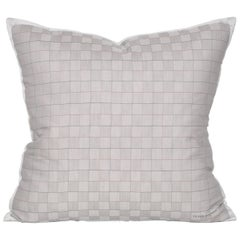 Vintage Pierre Balmain Grey Plaid Fabric with Irish Linen Cushion Pillow