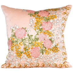 Vintage Nina Ricci Peach Silk Fabric with Irish Linen Cushion Pillow