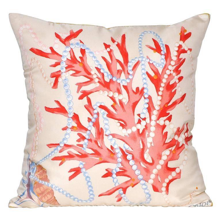 Vintage Chloe Nautical Silk Fabric with Irish Linen Cushion Pillow