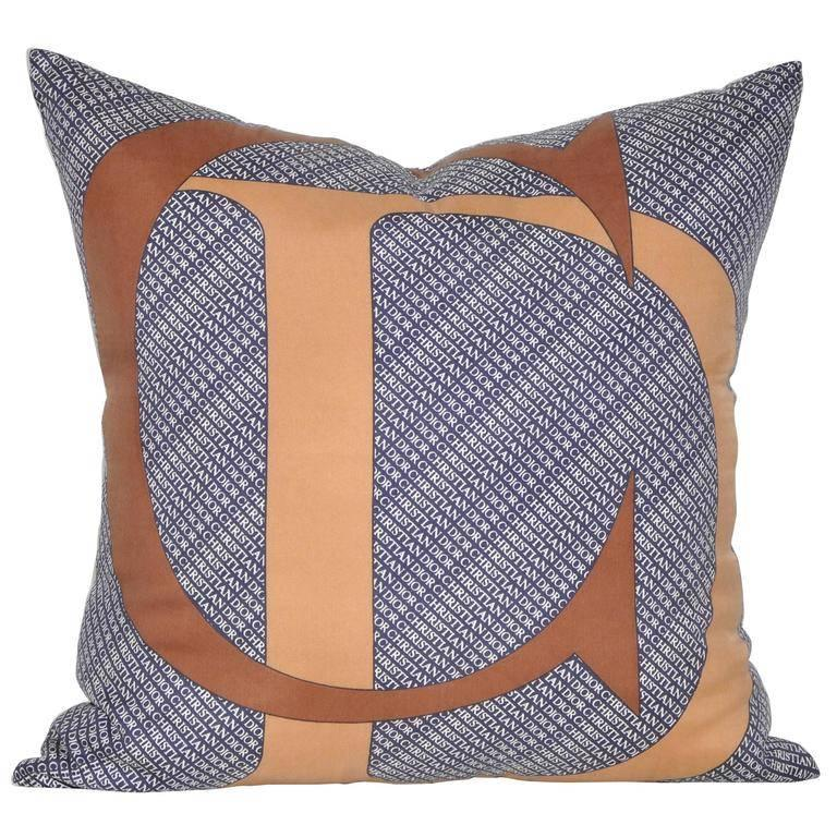 Vintage Christian Dior Silk Fabric with Irish Linen Cushion Pillow