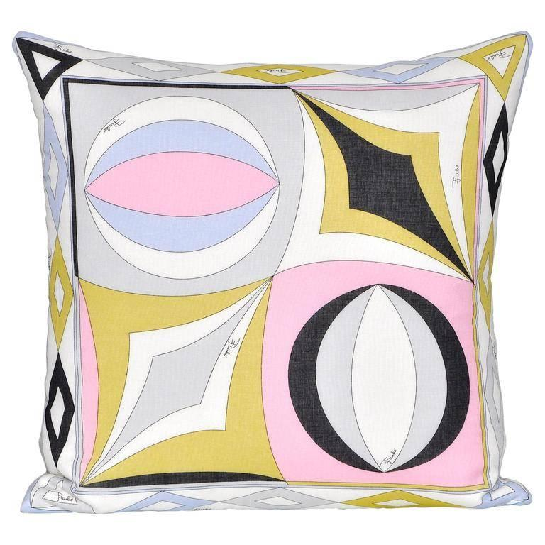 Vintage Pucci Geometric Fabric and Irish Linen Cushion Pillow For Sale