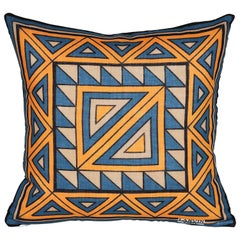Vintage Lanvin Orange and Blue Geometric Fabric with Irish Linen Cushion Pillow