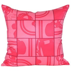 Vintage Hermes Pink Bridal Puzzle Silk Fabric and Irish Linen Cushion Pillow