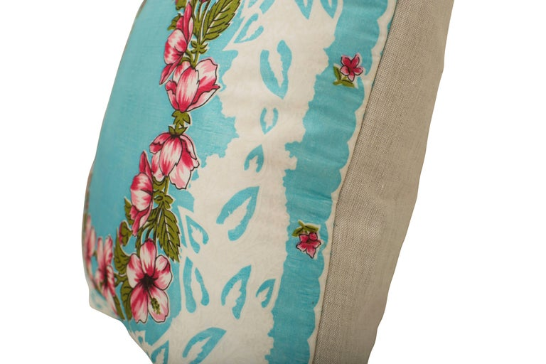 Custom-made one-of-a-kind luxury cushion (pillow) created from an exquisite French midcentury pure silk scarf with hand rolled edges in a pretty blue and pink floral design. It has the very beautiful and delicate texture unique to raw silk. Found in