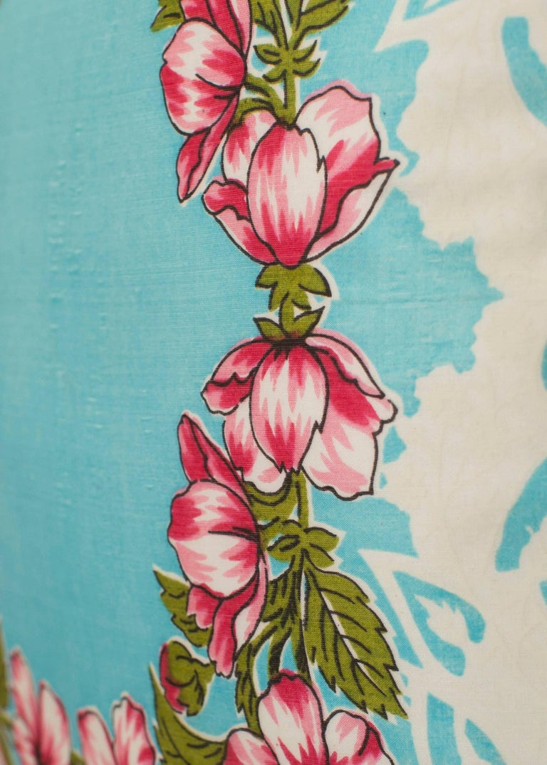 Hand-Crafted Vintage French Silk Scarf Fabric Cushion Pillow with Irish Linen For Sale