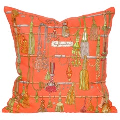 Vintage Hermes Orange Silk Fabric and Irish Linen Cushion Pillow