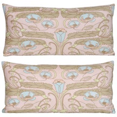 Pair of Vintage Liberty of London Silk Fabric with Irish Linen Cushions Pillows
