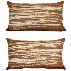 Pair of Vintage Balenciaga Silk Fabric and Irish Linen Cushions Pillows