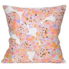 Vintage Oscar de la Renta Pink Shell Silk Fabric with Irish Linen Cushion Pillow