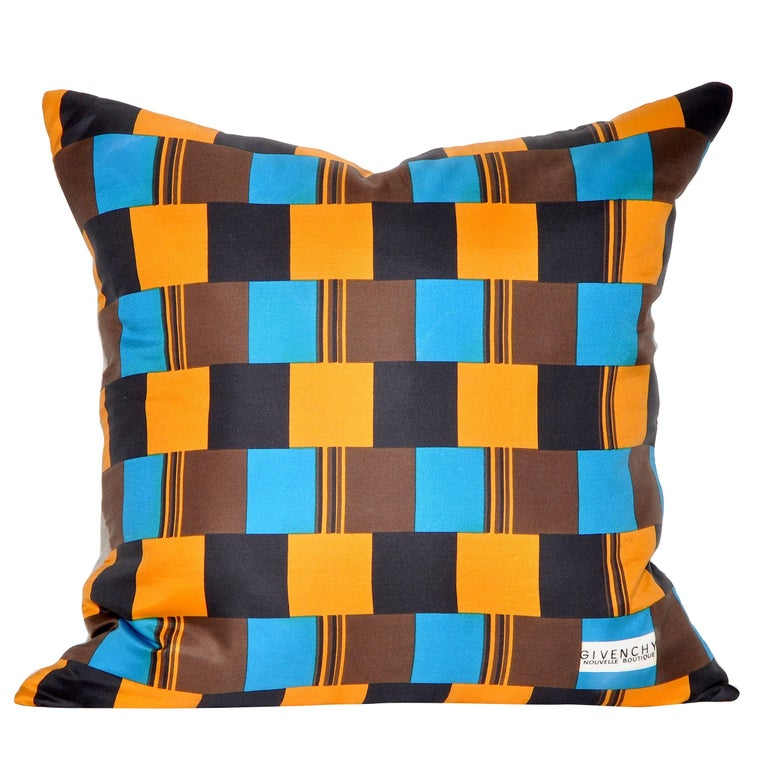 Vintage Givenchy Blue and Orange Silk Fabric with Irish Linen Cushion Pillow