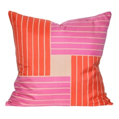 Vintage Jacqmar Pink Pop Art Silk Fabric and Irish Linen Cushion Pillow