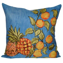 Vintage Liberty of London Pineapple Silk Fabric and Irish Linen Cushion Pillow