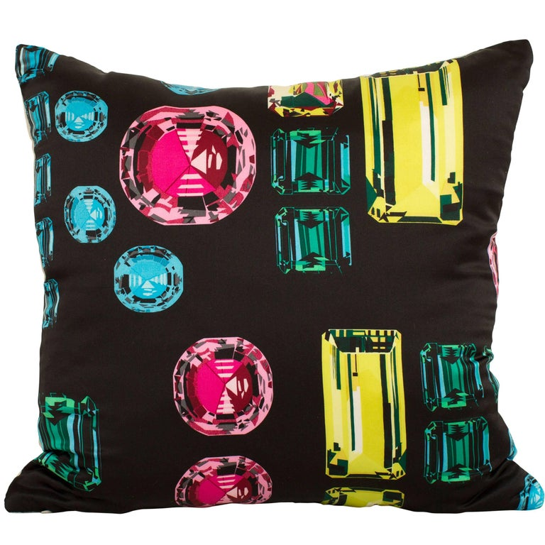 Vintage Crystals Jewels Echo Silk Fabric with Irish Linen Cushion Pillow For Sale