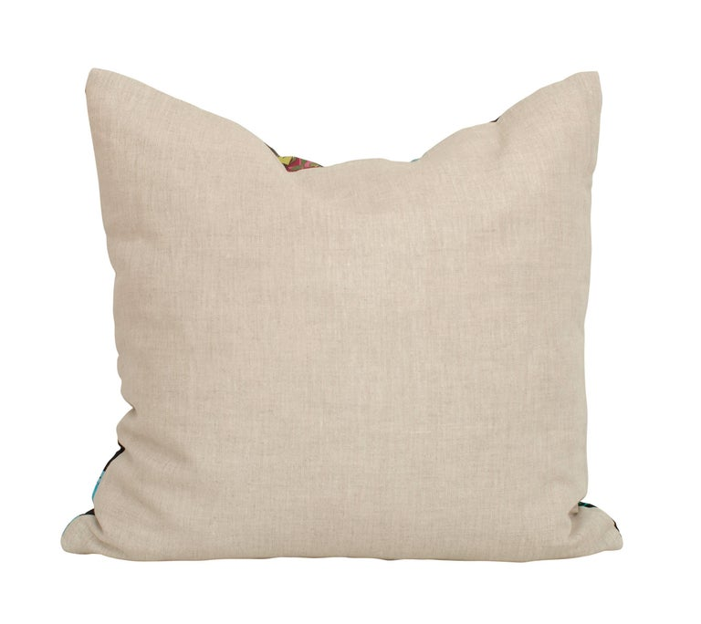 Hand-Crafted Vintage Crystals Jewels Echo Silk Fabric with Irish Linen Cushion Pillow For Sale