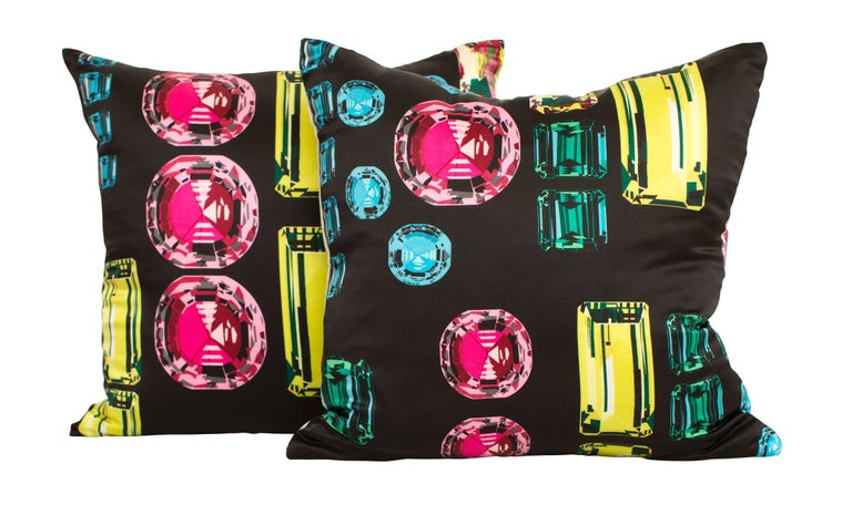 Vintage Crystals Jewels Echo Silk Fabric with Irish Linen Cushion Pillow For Sale 1