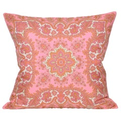 Large Vintage Liberty Pink Orange Silk Fabric & Irish Linen Cushion Pillow