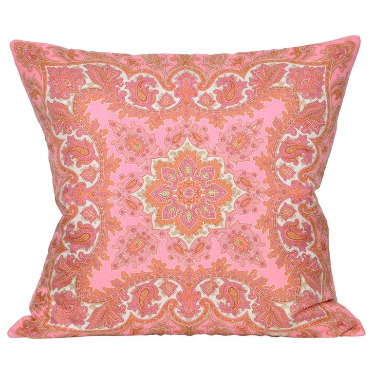 Large Vintage Liberty Pink Orange Silk Fabric & Irish Linen Cushion Pillow