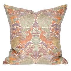 Vintage Liberty of London Peacock Print Silk Fabric Irish Linen Cushion Pillow