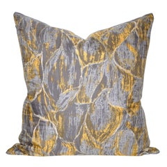 Vintage Liberty of London Gray Yellow Silk Fabric & Irish Linen Cushion Pillow