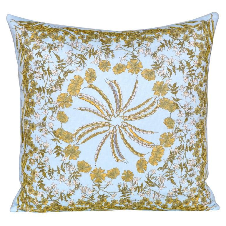 Vintage Blue Salvatore Ferragamo Fabric with Irish Linen Cushion Pillow