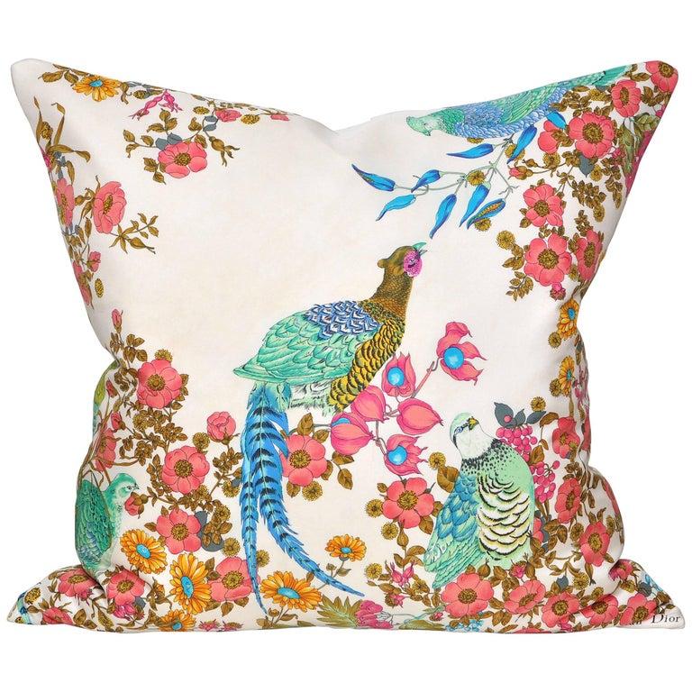 Rare Vintage Christian Dior Silk Fabric with Irish Linen Cushion Pillow