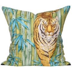 Large Vintage Tiger Blue Salvatore Ferragamo Silk Fabric and Irish Linen Pillow