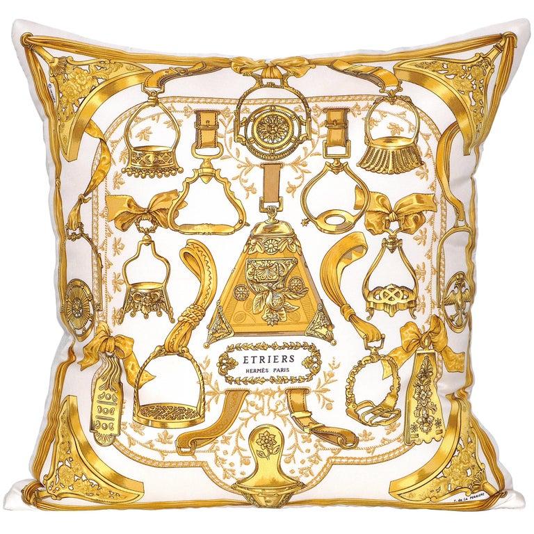 Vintage Gold Hermès Equestrian Fabric with Irish Linen Cushion Pillow