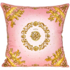 Vintage Hermes Pink and Gold Silk Fabric and Irish Linen Cushion Pillow