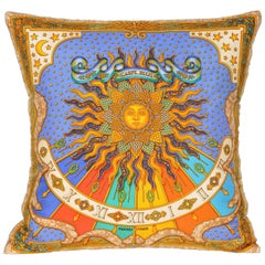 Vintage Hermes Bright Blue and Gold Silk Fabric and Irish Linen Cushion Pillow