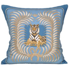 Vintage Hermes Blue Gold Tiger Silk Fabric and Irish Linen Cushion Pillow