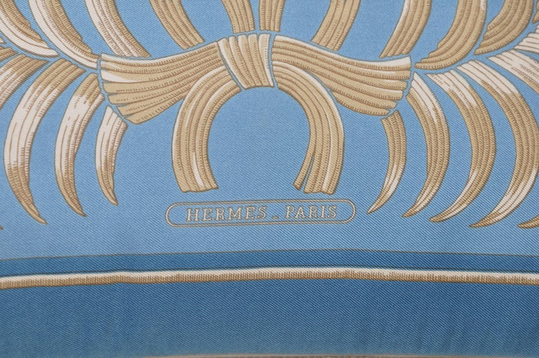 Hand-Crafted Vintage Hermes Blue Gold Tiger Silk Fabric and Irish Linen Cushion Pillow For Sale